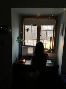 Ellie Murray in her creepiest workspace.